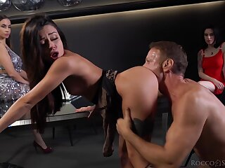 Lady's man Rocco Siffredi fucks several glamorous babes in the club