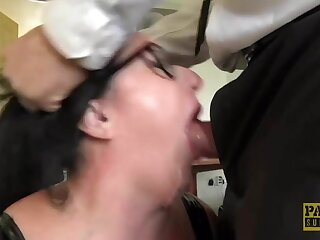 Thick slut Curvy Gal face fucked and dominated by fat cock