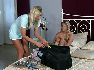 Kinky beauteous nurse loves taking handling of her adorable beauteous patient