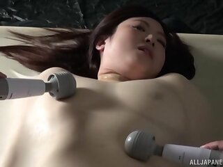 Dirty Asian girl Nakamura Tomoe tied up and pleasured with toys