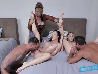 Nude orgy in purfling limits about a pair of horny couples and their aunt