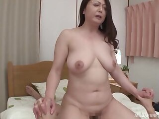Japanese mature wife with glasses gives head and rides not far from cowgirl