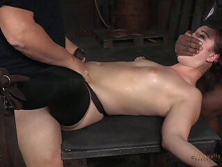 Female slave Endza Adair tied up and spit roasted - interracial