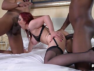 Mary Rider - 2 Black studs be proper of Mary - redhead mom double penetrated in interracial trinity