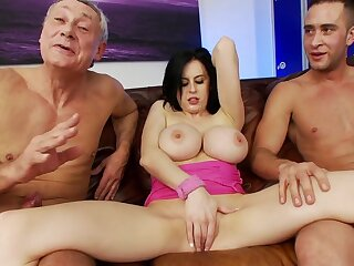 Star Louise Jenson close by large fake boobs fucked by twosome mature guys
