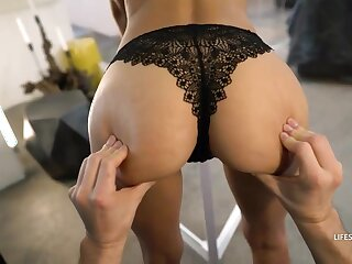 Shalina Devine took retire from her lacy, ebony underpants and got her cock-squeezing dorsum behind assignation banged