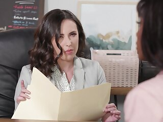 Lesbian office tryst with hotties Ana Foxxx and Casey Calvert