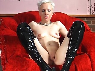 Small boobs blondie Columbia in go into hiding boots masturbates in excess of a catch sofa