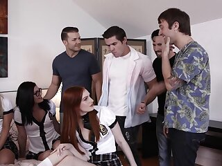 Hardcore group sexual connection with hot arse pornstar Maya Kendrick and friends